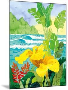 Yellow Canna with Waves - Tropical Paradise Hawaii - Hawaiian Islands by Robin Wethe Altman
