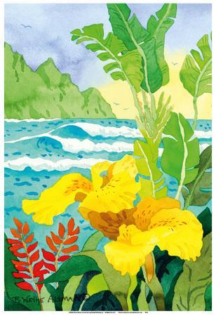 Yellow Canna with Waves - Tropical Paradise Hawaii - Hawaiian Islands