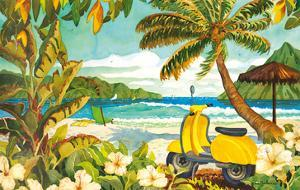 Yellow Scooter in Paradise - Tropical Beach Ocean View - Hawaii - Hawaiian Islands by Robin Wethe Altman