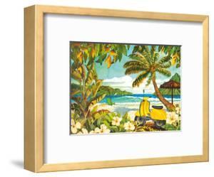 Yellow Scooter in Paradise - Tropical Beach Ocean View - Hawaii - Hawaiian Islands by Robin Wethe Altman