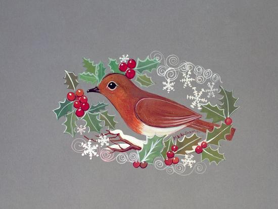 Robin with Snowflakes and Holly-Mike Alexander-Giclee Print