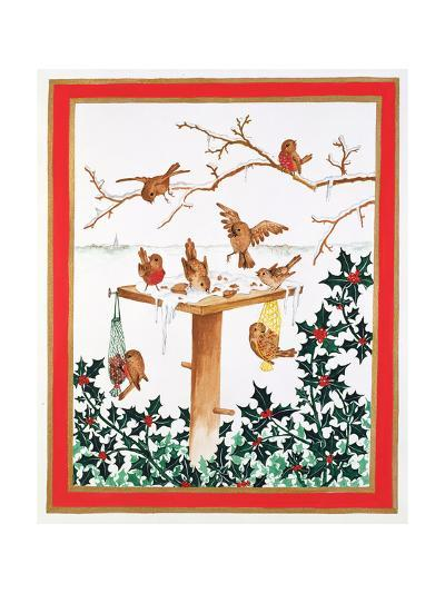 Robins and Sparrows at the Bird Table-Jeanne Maze-Giclee Print