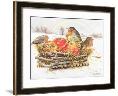 Robins with Apples, 1997-E.B. Watts-Framed Giclee Print