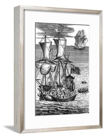Robinson Crusoe Saves the Crew of a Ship on Fire at Sea, C1719