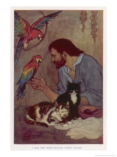 Robinson Crusoe with His Parrots and Cats-Elenore Plaisted Abbott-Giclee Print