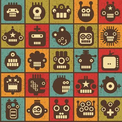 Robot and Monsters Cell Background-panova-Art Print