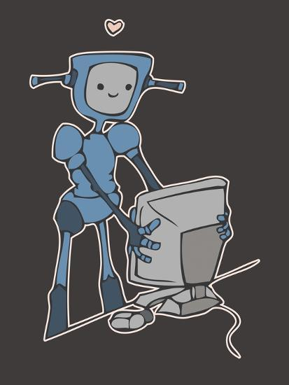 Robot, Computer, Love-Esther Loopstra-Giclee Print