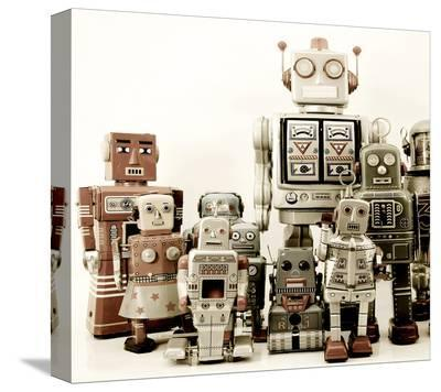 Robot Group--Stretched Canvas Print