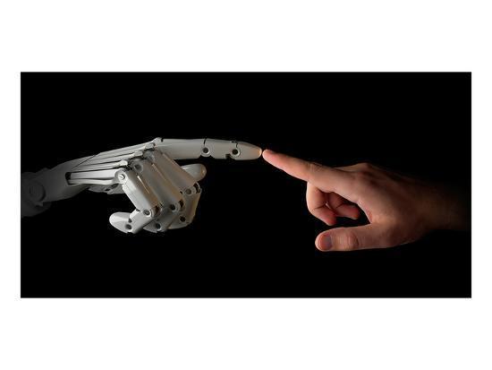 Robot & Human Fingers Touching--Art Print