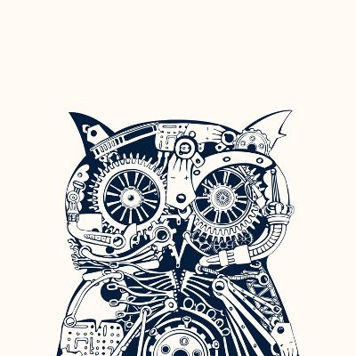 Robotic Owl Head.-RYGER-Art Print