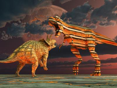 Robotic T. Rex & Triceratops Battle To the Finish-Stocktrek Images-Photographic Print