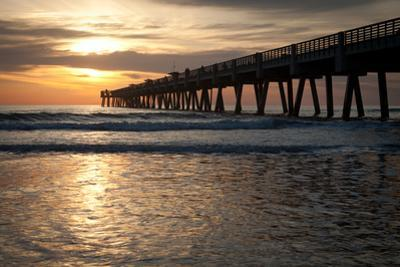 Jacksonville Beach, Florida Fishing Pier in Early Morning. by RobWilson
