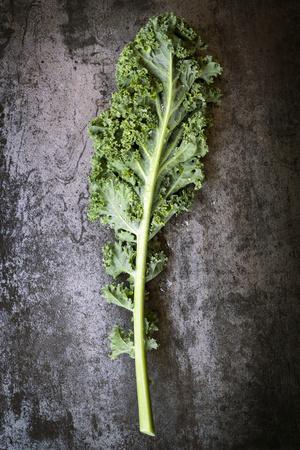 Kale Leaf, Overhead View on Dark Slate