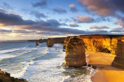 Twelve Apostles at Sunset.  Great Ocean Road, Victoria, Australia.
