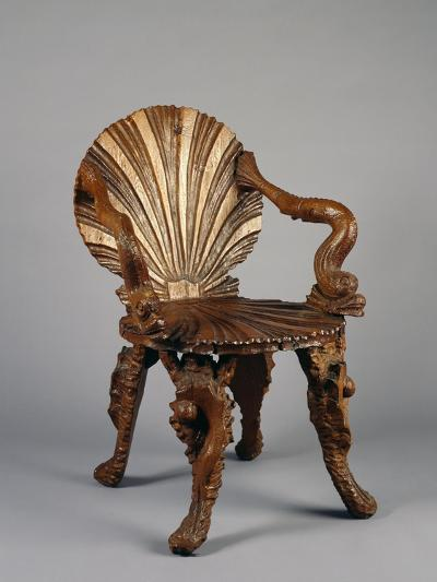 Rocaille Style Chair, with Back and Seat in Form of Shell and Arms Decorated with Tritons, France--Giclee Print
