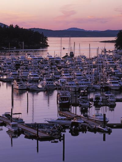 Roche Harbor Marina At dusk, San Juan Island, Washington, USA-Charles Gurche-Photographic Print