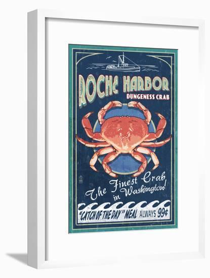 Roche Harbor, WA - Dungeness Crab Vintage Sign-Lantern Press-Framed Art Print