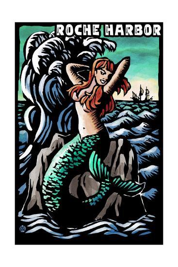 Roche Harbor, Washington - Mermaid - Scratchboard-Lantern Press-Art Print