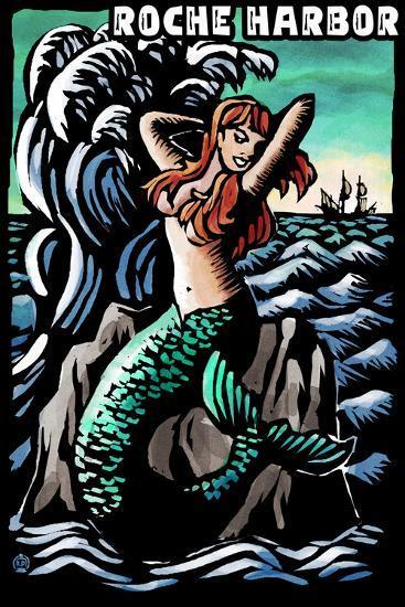 Roche Harbor, Washington - Mermaid - Scratchboard-Lantern Press-Wall Mural