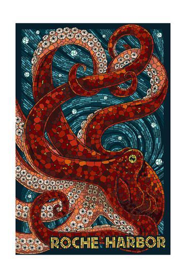 Roche Harbor, Washington - Octopus Mosaic-Lantern Press-Art Print