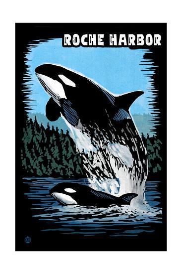 Roche Harbor, Washington - Orca and Calf Scratchboard-Lantern Press-Art Print
