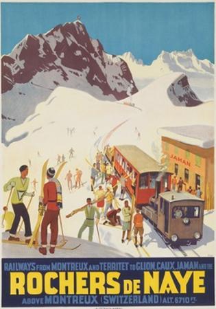 Rochers De Naye, Swiss Ski Travel Poster