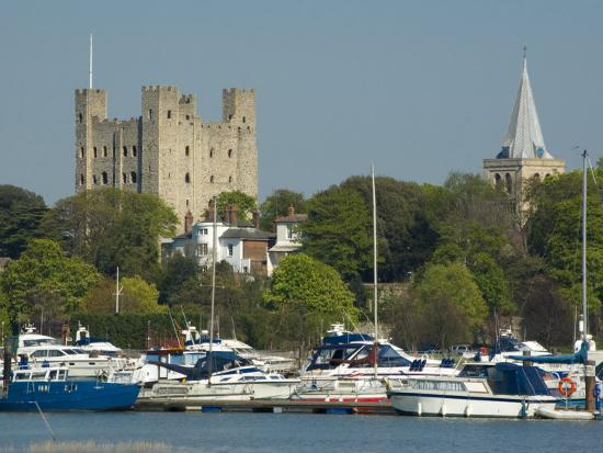 Rochester Castle and Cathedral, Rochester, Kent, England, United Kingdom, Europe-Charles Bowman-Photographic Print
