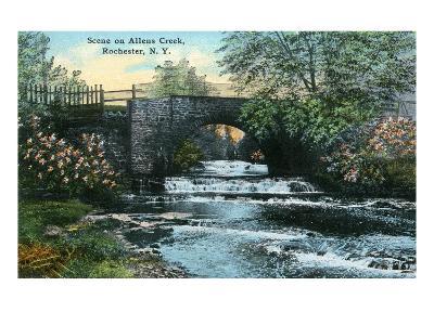 Rochester, New York - Allen's Creek Scene-Lantern Press-Art Print