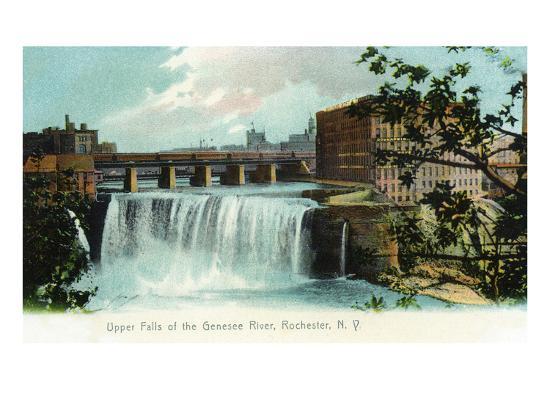 Rochester, New York - Upper Falls of the Genesee River-Lantern Press-Art Print