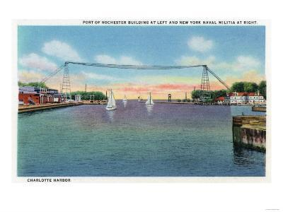 Rochester, NY - Charlotte Harbor View of Rochester Port and NY Naval Militia-Lantern Press-Art Print
