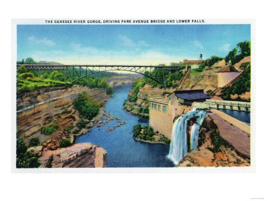 Rochester, NY - Genesee River Gorge, Park Avenue Bridge, Lower Falls View-Lantern Press-Art Print