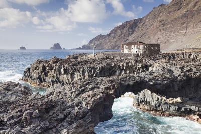 Rock Arch and Hotel Punta Grande, Las Puntas, El Golfo, Lava Coast, Canary Islands, Spain-Markus Lange-Photographic Print