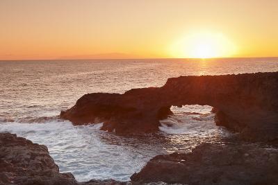 Rock Arch at Sunrise, Charco Manso Bay, Punta Norte Near Echedo, El Hierro, Canary Islands, Spain-Markus Lange-Photographic Print