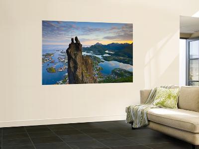 Rock Climbers Scale the Famous Svolværgeita, Svolvaer, Lofoten, Nordland, Norway-Doug Pearson-Wall Mural