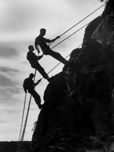 Rock Climbing Teenagers--Photographic Print