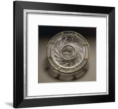 Rock Crystal Dish with Gold Mount and Engraved Scenes of Noah's Ark and Gadrooning--Framed Giclee Print