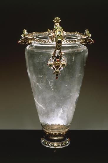 Rock Crystal Vase with Enameled Gold Mount--Giclee Print