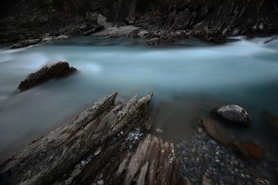 Rock Formation over Kicking Horse River in Alberta, Canada-Raul Touzon-Photographic Print