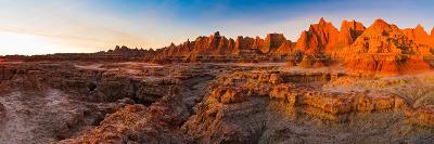 Rock Formations on a Landscape at Sunrise, Door Trail, Badlands National Park, South Dakota, USA--Photographic Print