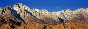 Rock Formations on a Mountain Range, Moonset over Mt Whitney, Lone Pine, California, USA