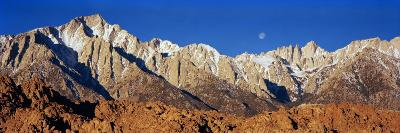 Rock Formations on a Mountain Range, Moonset over Mt Whitney, Lone Pine, California, USA--Photographic Print