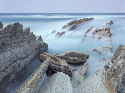 Rock Formations on Atxabiribil Beach, Basque Country, Bay of Biscay, Spain, October 2008-Popp-Hackner-Photographic Print