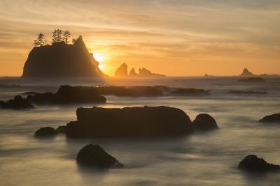 Rock Formations Silhouetted At Sunset On The Pacífic Coast Of Olympic National Park-Inaki Relanzon-Photographic Print