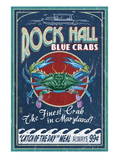 Rock Hall, Maryland - Blue Crabs-Lantern Press-Art Print