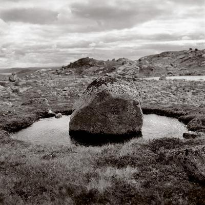 Rock in water at coast (black nad white)-Mika-Photographic Print
