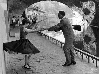 Rock 'n' Roll Dancers on Quays of Paris, River Seine, 1950s-Paul Almasy-Giclee Print