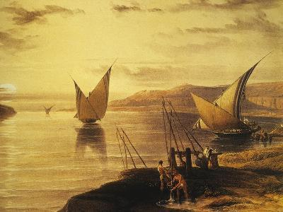 Rock of the Chain, Hadjar Silsils, with Limestone Carrying Nile Feluccas, Lithograph, 1838-9-David Roberts-Giclee Print