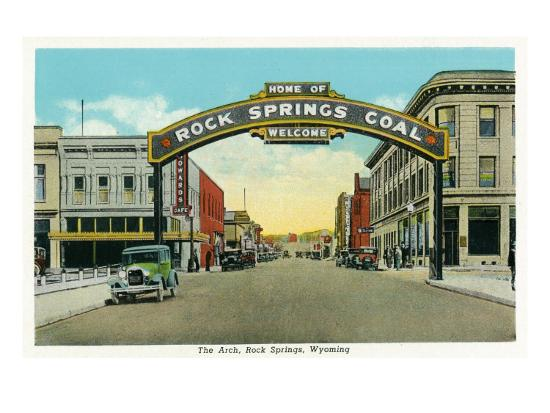 Rock Springs, Wyoming, View of the Rock Springs Welcome Arch-Lantern Press-Art Print
