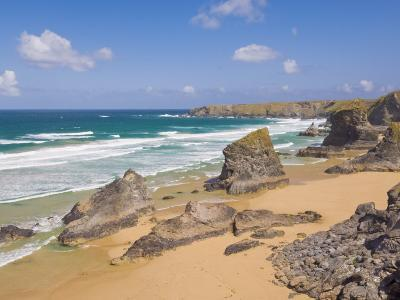 Rock Stacks, Beach and Rugged Coastline at Bedruthan Steps, North Cornwall, England-Neale Clark-Photographic Print