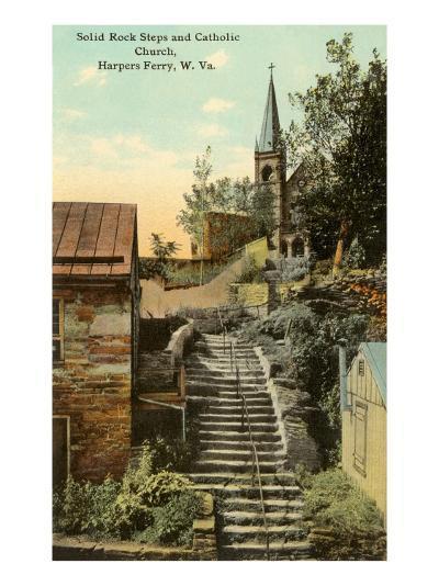 Rock Steps, Catholic Church, Harper's Ferry, West Virginia--Art Print